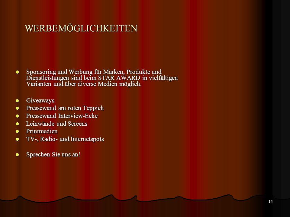 13 KOOPERATIONSPARTNER KOOPERATIONSPARTNER Für Firmen aus der Unterhaltungsbranche (z.B. Pyrotechnik, Lasertechnik, Licht- und Tontechnik, Bühnendekor