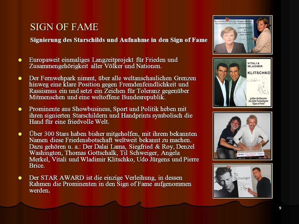 8 DER ABLAUF - TOMBOLA – AFTERSHOW PARTY – SING OF FAME DER ABLAUF 18:00 Uhr: Einlass der Medienvertreter 18:30 Uhr: Einlass und Sektempfang 20:00 Uhr: Moderatoren begrüßen die Gäste 20:10 Uhr: Beginn der Verleihung, Star Award 2013 23:10 Uhr: Tombola - die Gewinner der drei Hauptpreise werden ermittelt.