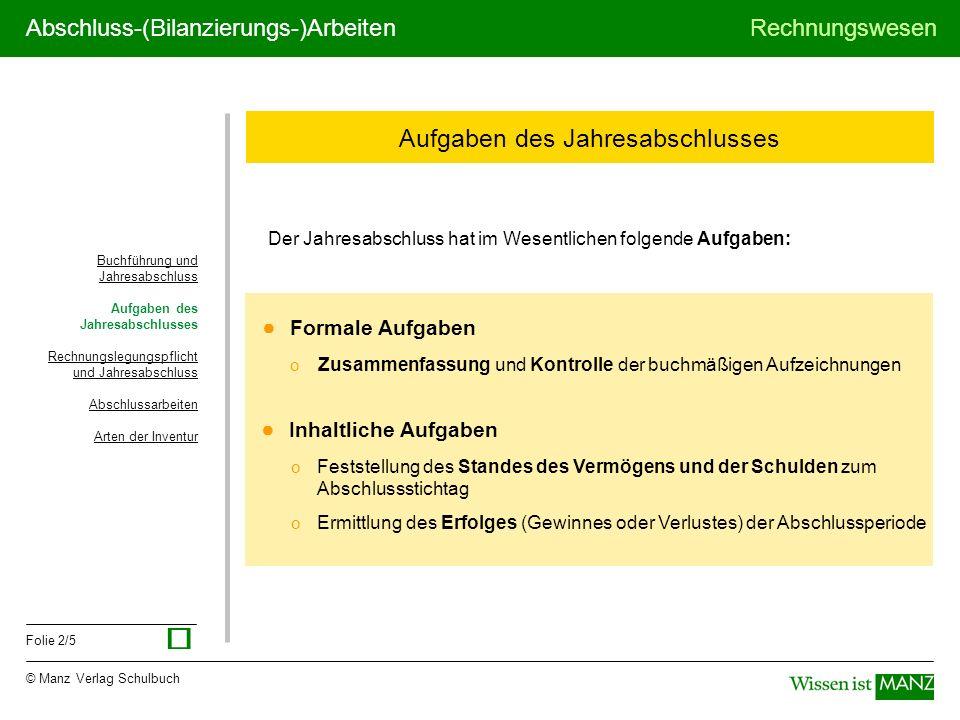 © Manz Verlag Schulbuch Rechnungswesen Folie 2/5 Abschluss-(Bilanzierungs-)Arbeiten Aufgaben des Jahresabschlusses Der Jahresabschluss hat im Wesentli