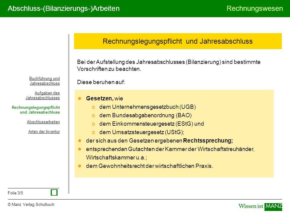 © Manz Verlag Schulbuch Rechnungswesen Folie 3/5 Abschluss-(Bilanzierungs-)Arbeiten Rechnungslegungspflicht und Jahresabschluss Buchführung und Jahres