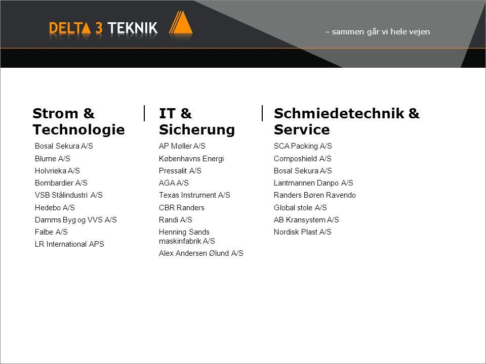 – sammen går vi hele vejen Strom & Technologie Bosal Sekura A/S Blume A/S Holvrieka A/S Bombardier A/S VSB Stålindustri A/S Hedebo A/S Damms Byg og VV