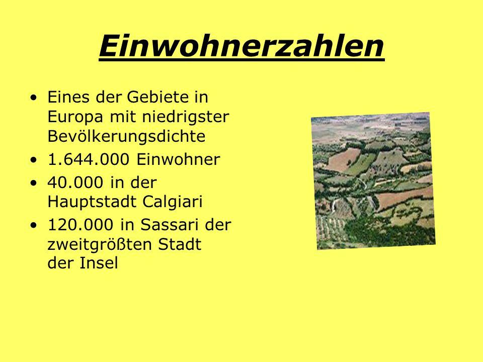 Einwohnerzahlen Eines der Gebiete in Europa mit niedrigster Bevölkerungsdichte 1.644.000 Einwohner 40.000 in der Hauptstadt Calgiari 120.000 in Sassar