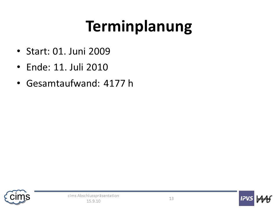 cims Abschlusspräsentation 15.9.10 13 cims Terminplanung Start: 01. Juni 2009 Ende: 11. Juli 2010 Gesamtaufwand: 4177 h