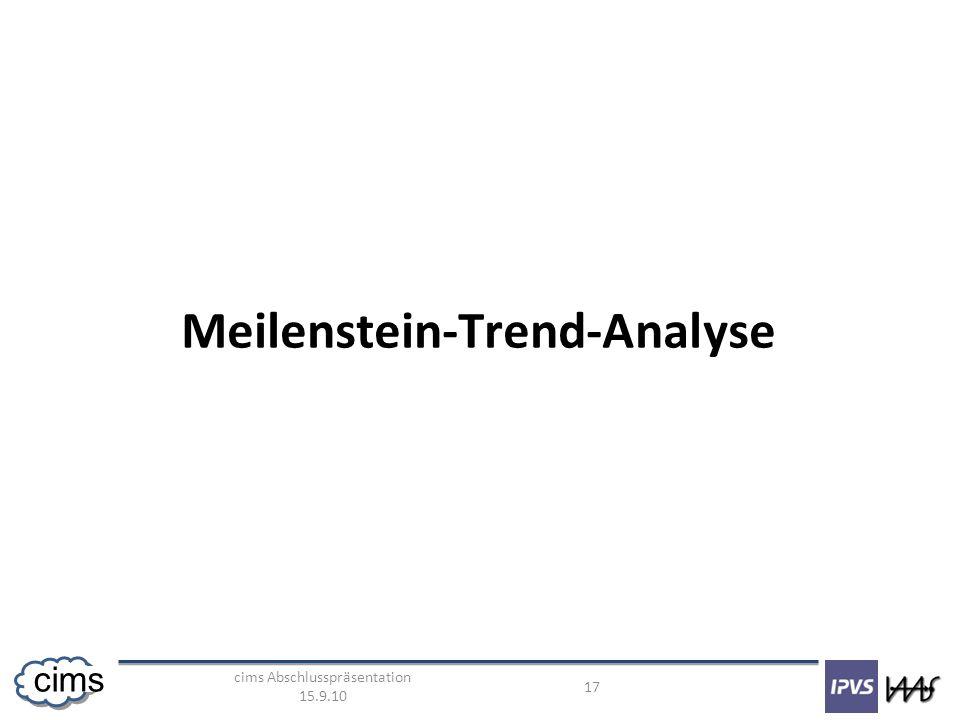 cims Abschlusspräsentation 15.9.10 17 cims Meilenstein-Trend-Analyse