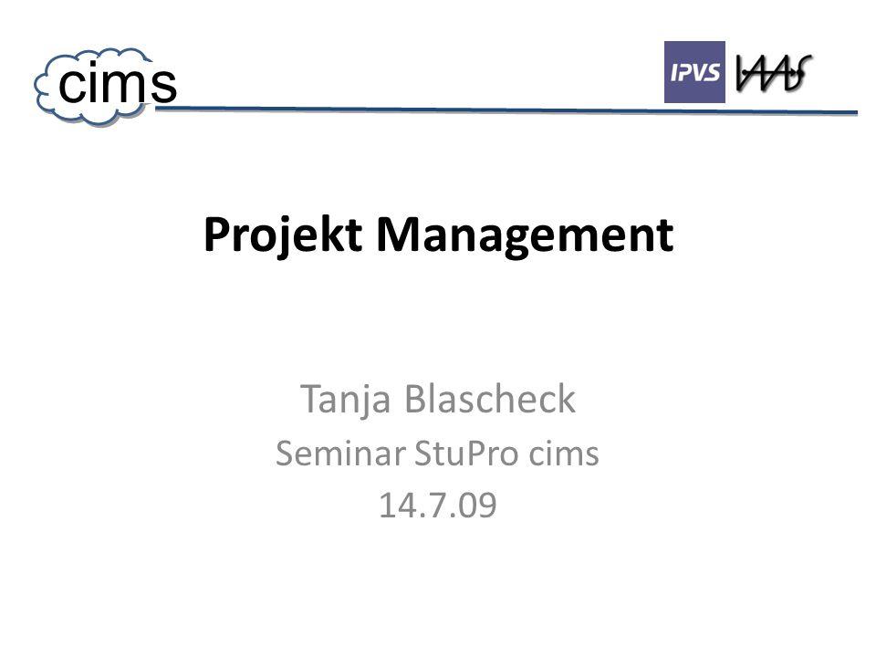 Projekt Management Tanja Blascheck Seminar StuPro cims 14.7.09 cims
