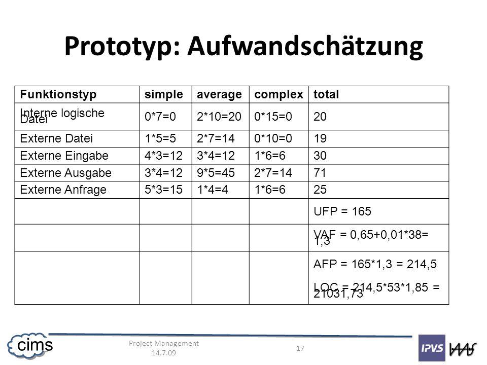 Project Management 14.7.09 17 cims Prototyp: Aufwandschätzung Funktionstypsimpleaveragecomplextotal Interne logische Datei 0*7=02*10=200*15=020 Externe Datei1*5=52*7=140*10=019 Externe Eingabe4*3=123*4=121*6=630 Externe Ausgabe3*4=129*5=452*7=1471 Externe Anfrage5*3=151*4=41*6=625 UFP = 165 VAF = 0,65+0,01*38= 1,3 AFP = 165*1,3 = 214,5 LOC = 214,5*53*1,85 = 21031,73