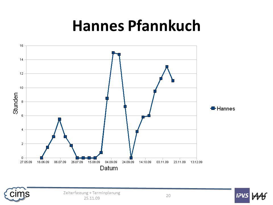 Zeiterfassung + Terminplanung 25.11.09 20 cims Hannes Pfannkuch