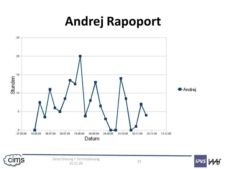 Zeiterfassung + Terminplanung 25.11.09 23 cims Andrej Rapoport