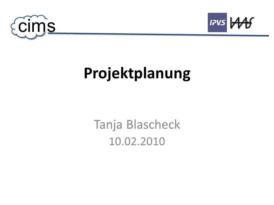 Projektplanung Tanja Blascheck 10.02.2010 cims