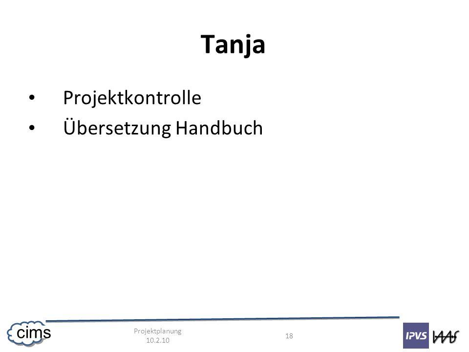 Projektplanung 10.2.10 18 cims Tanja Projektkontrolle Übersetzung Handbuch