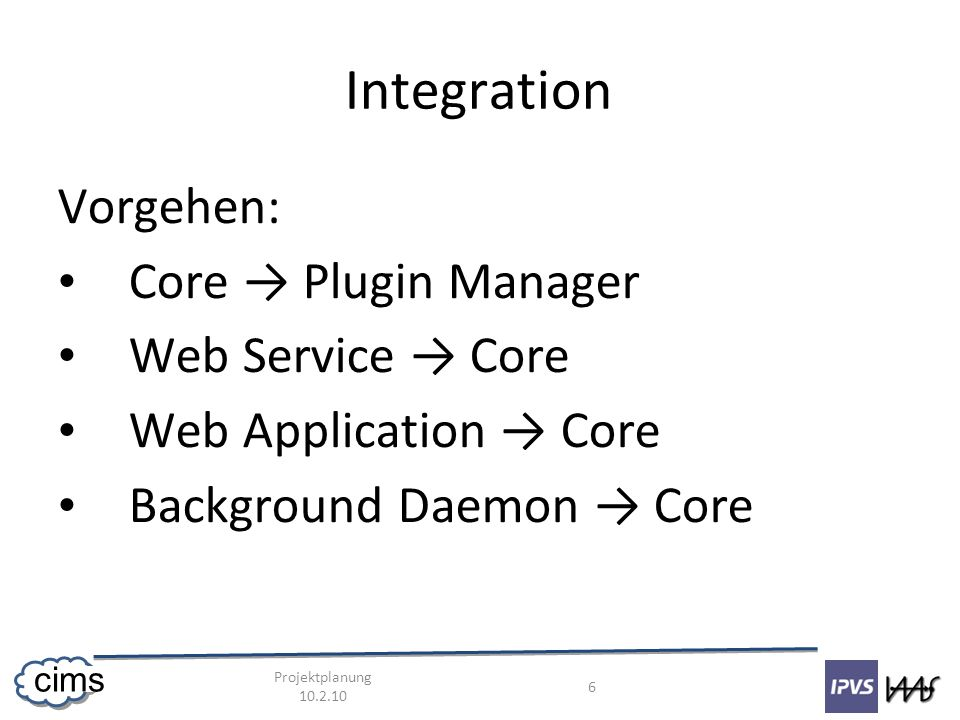 Projektplanung 10.2.10 6 cims Integration Vorgehen: Core Plugin Manager Web Service Core Web Application Core Background Daemon Core