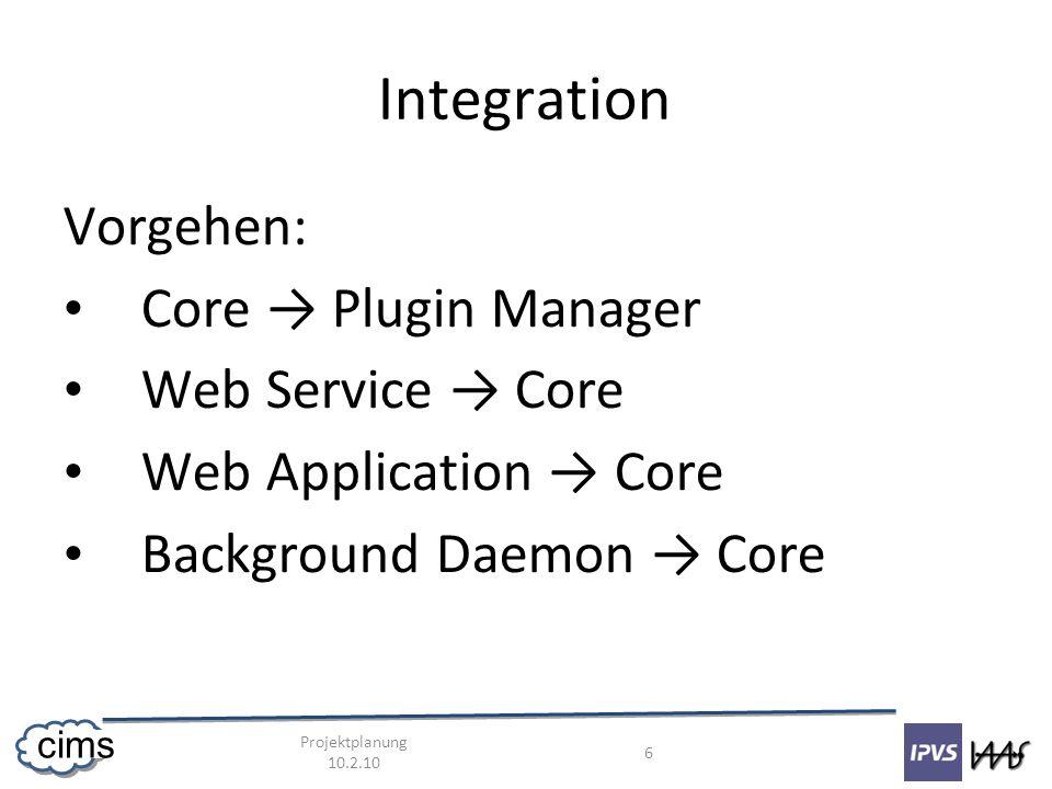 Projektplanung 10.2.10 7 cims Integration Core: – Hannes, Daniel, Lukazs Web Service: – Andrej Web Application: – Dominik Background Daemon – Nikolay Deadline: 28.3.2010