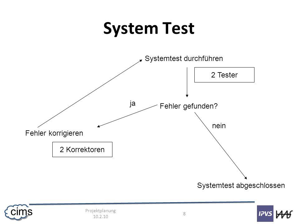 Projektplanung 10.2.10 9 cims System Test 4 - 5 Entwickler Tester: Nikolay, Michael Korrektoren: Daniel, Dominik, (evtl.