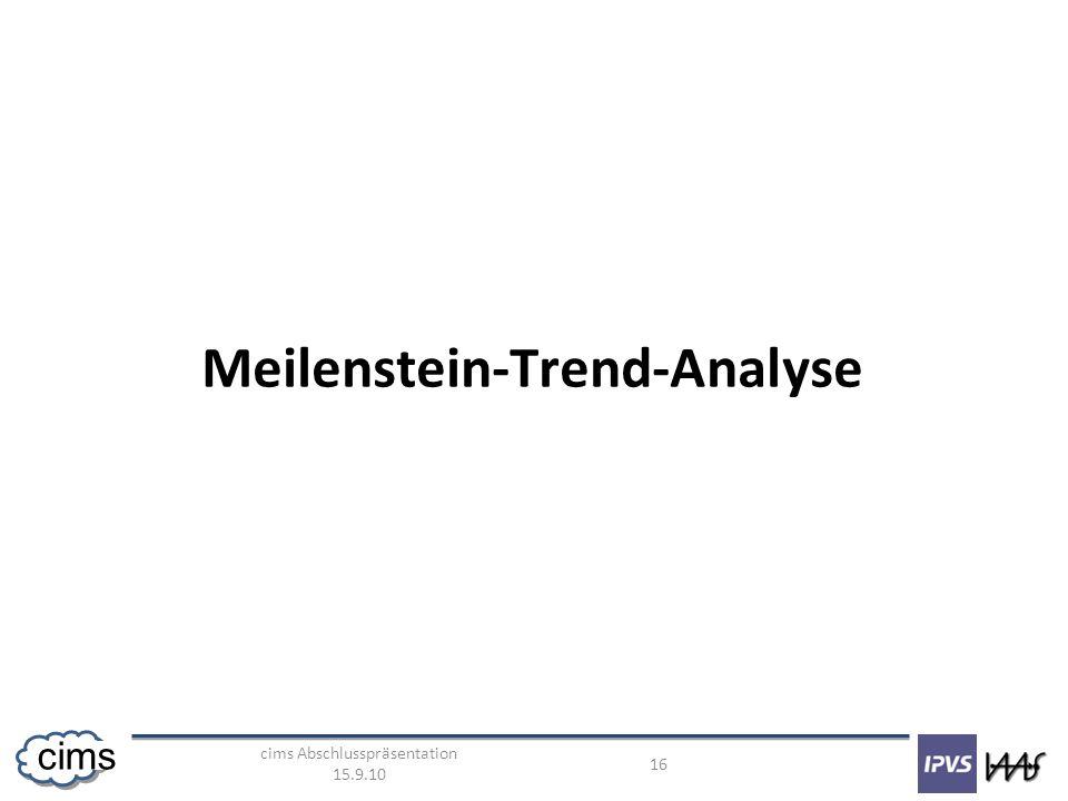cims Abschlusspräsentation 15.9.10 16 cims Meilenstein-Trend-Analyse