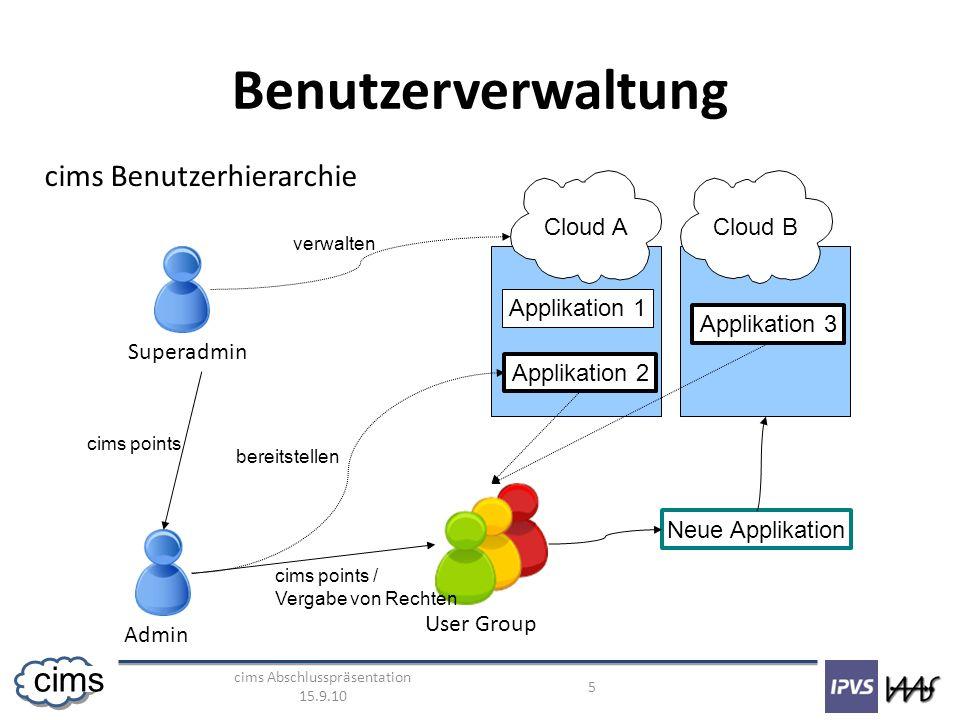 cims Abschlusspräsentation 15.9.10 5 cims Benutzerverwaltung Superadmin Admin User Group cims points cims points / Vergabe von Rechten Cloud ACloud B Applikation 1 Applikation 2 Applikation 3 Neue Applikation verwalten bereitstellen cims Benutzerhierarchie