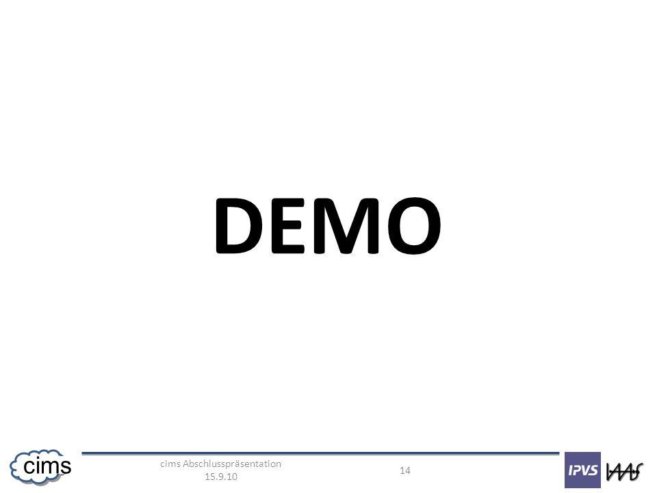 cims Abschlusspräsentation 15.9.10 14 cims DEMO