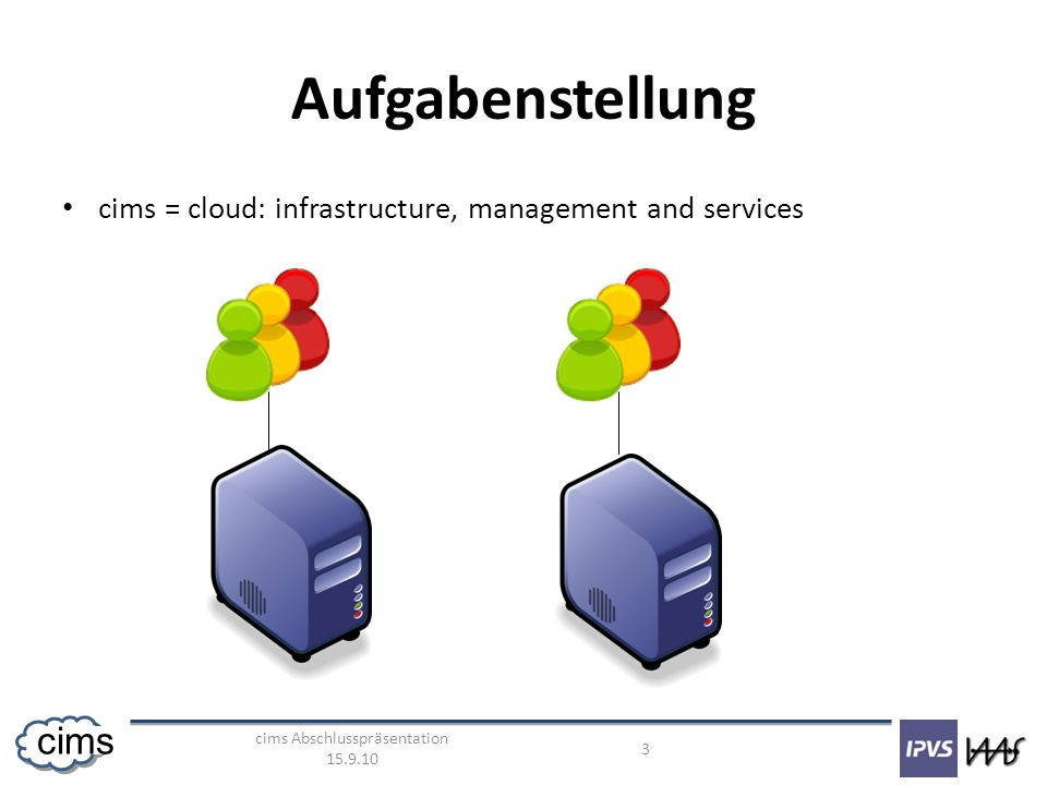 cims Abschlusspräsentation 15.9.10 4 cims Aufgabenstellung cims = cloud: infrastructure, management and services Cloud