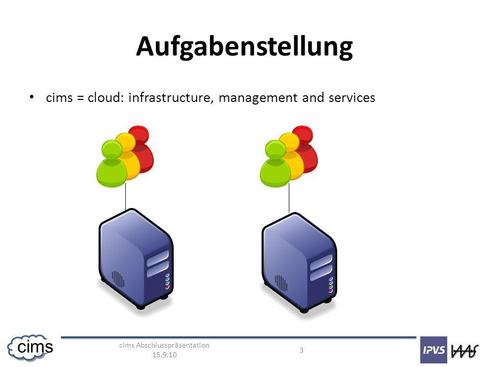 cims Abschlusspräsentation 15.9.10 3 cims Aufgabenstellung cims = cloud: infrastructure, management and services