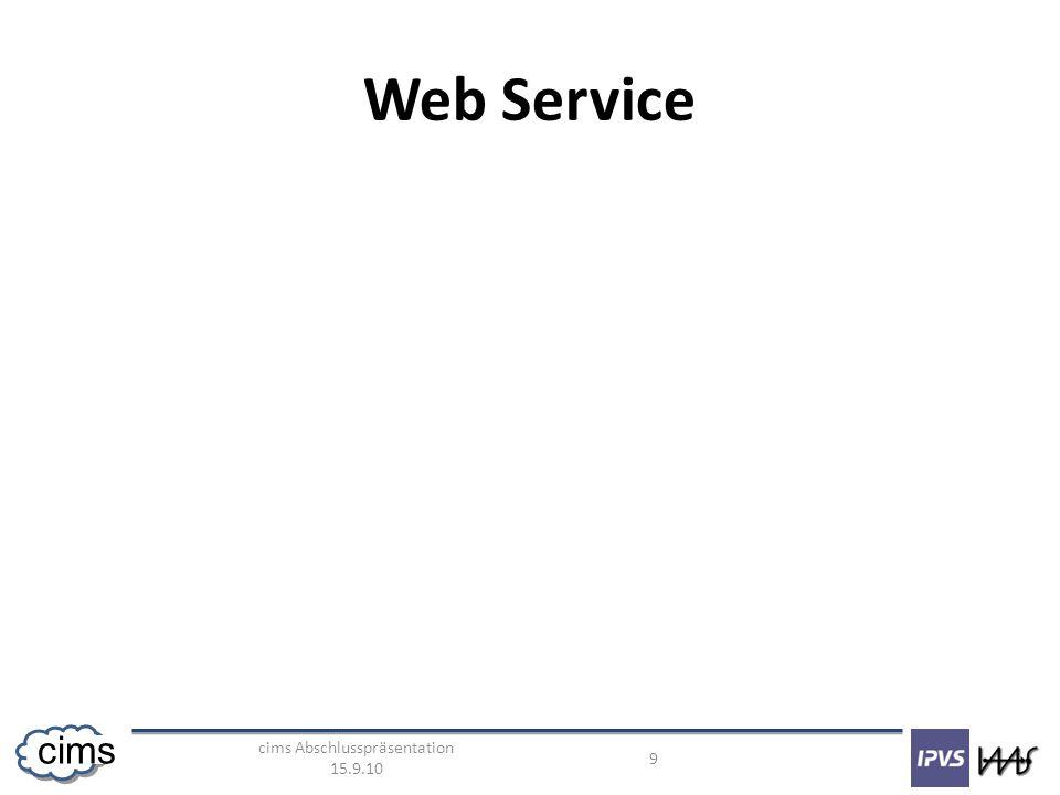 cims Abschlusspräsentation 15.9.10 9 cims Web Service