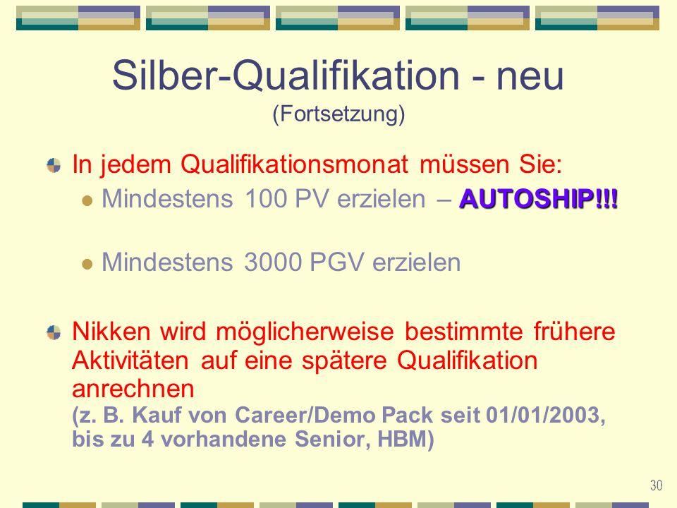 30 Silber-Qualifikation - neu (Fortsetzung) In jedem Qualifikationsmonat müssen Sie: AUTOSHIP!!.