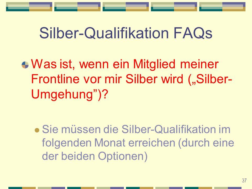 37 Silber-Qualifikation FAQs Was ist, wenn ein Mitglied meiner Frontline vor mir Silber wird (Silber- Umgehung).