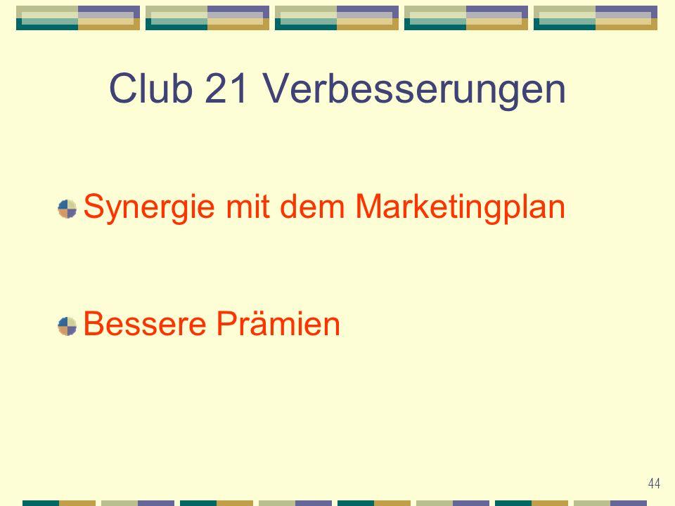 44 Club 21 Verbesserungen Synergie mit dem Marketingplan Bessere Prämien