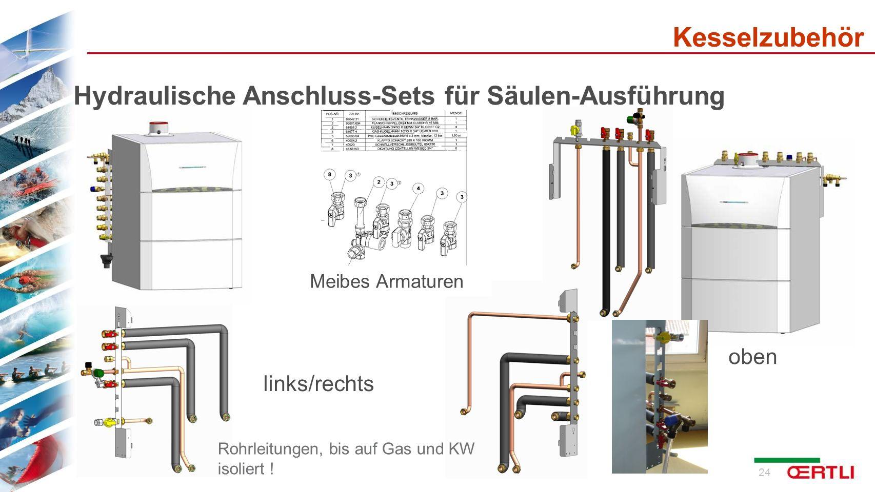 25 Hydraulische Anschluss-Sets für Solo oder mit nebengestellten Speicher Meibes Armaturen Kesselzubehör Rohrleitungen, bis auf Gas und KW isoliert !