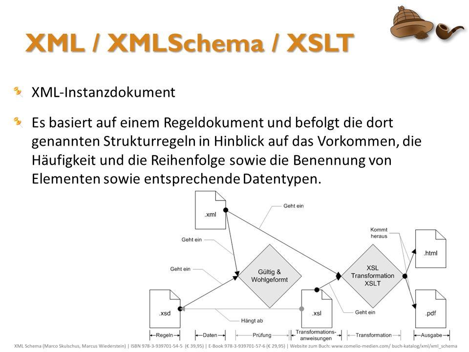 XML / XMLSchema / XSLT XML-Instanzdokument Es basiert auf einem Regeldokument und befolgt die dort genannten Strukturregeln in Hinblick auf das Vorkom