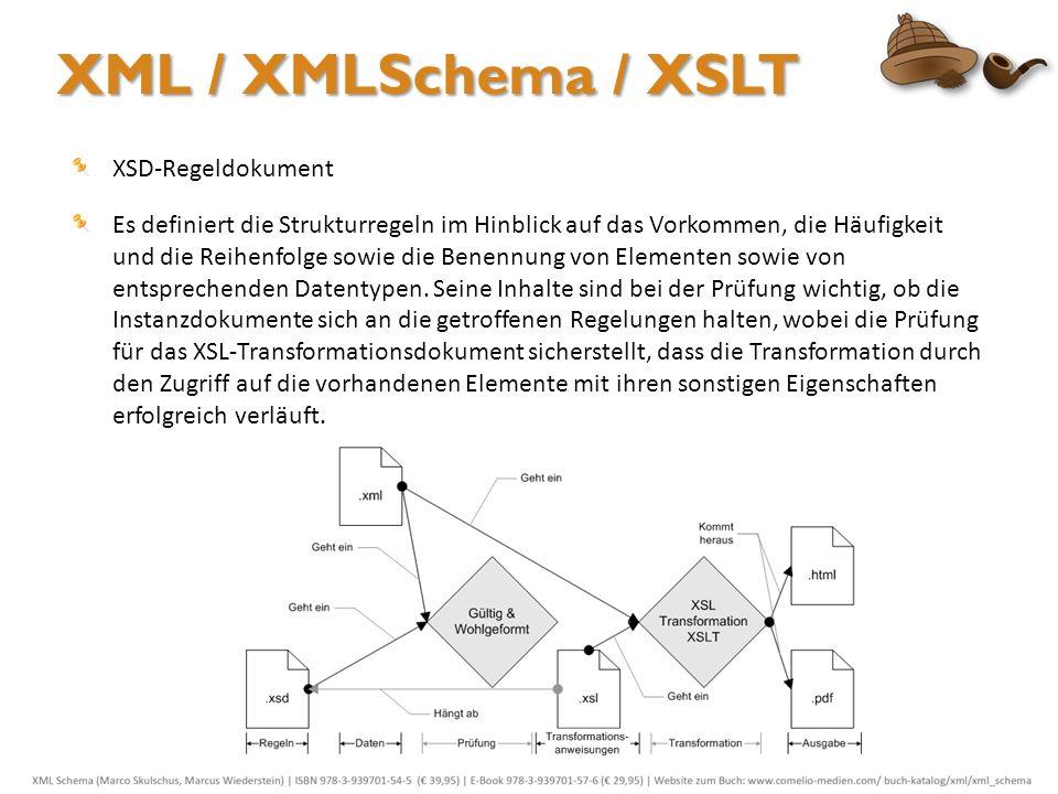 XML / XMLSchema / XSLT XSD-Regeldokument Es definiert die Strukturregeln im Hinblick auf das Vorkommen, die Häufigkeit und die Reihenfolge sowie die B