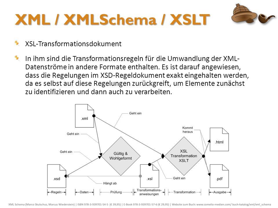XSL-Transformationsdokument In ihm sind die Transformationsregeln für die Umwandlung der XML- Datenströme in andere Formate enthalten. Es ist darauf a
