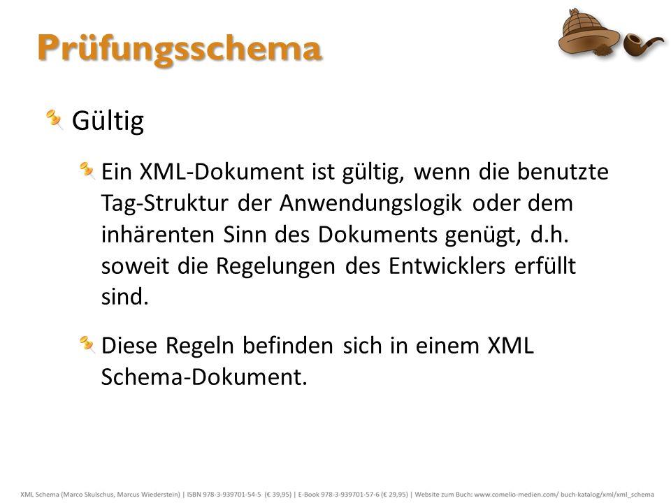 Gültig Ein XML-Dokument ist gültig, wenn die benutzte Tag-Struktur der Anwendungslogik oder dem inhärenten Sinn des Dokuments genügt, d.h. soweit die
