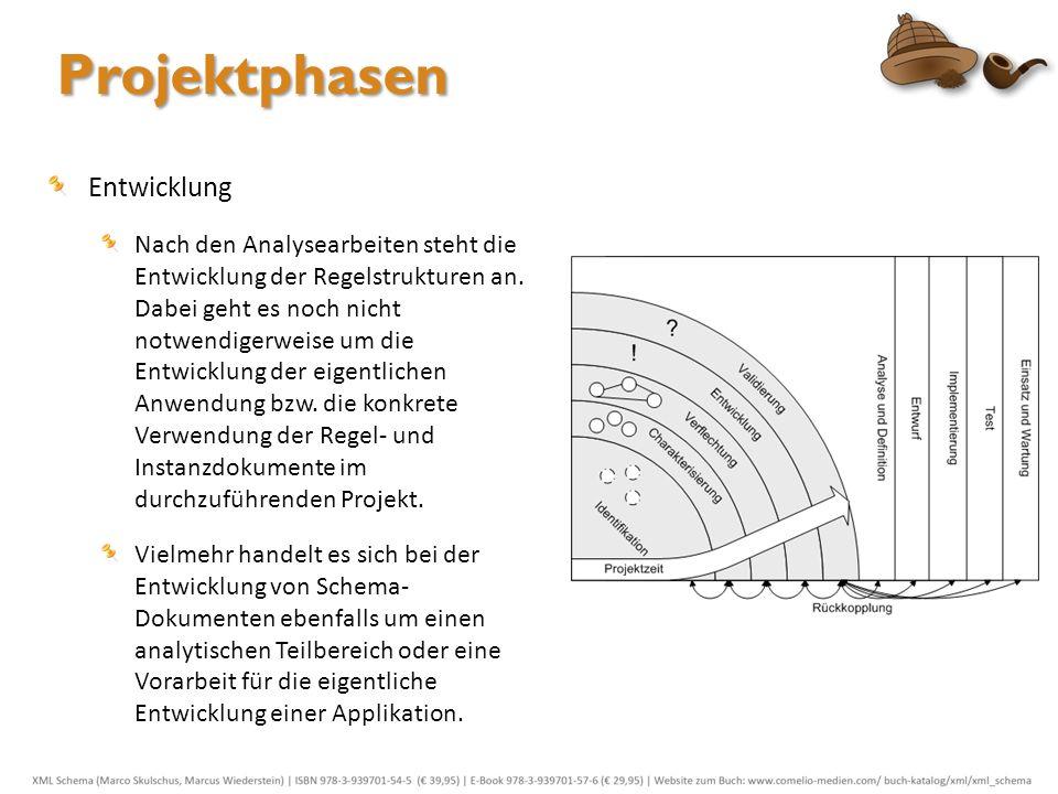 Projektphasen Entwicklung Nach den Analysearbeiten steht die Entwicklung der Regelstrukturen an. Dabei geht es noch nicht notwendigerweise um die Entw