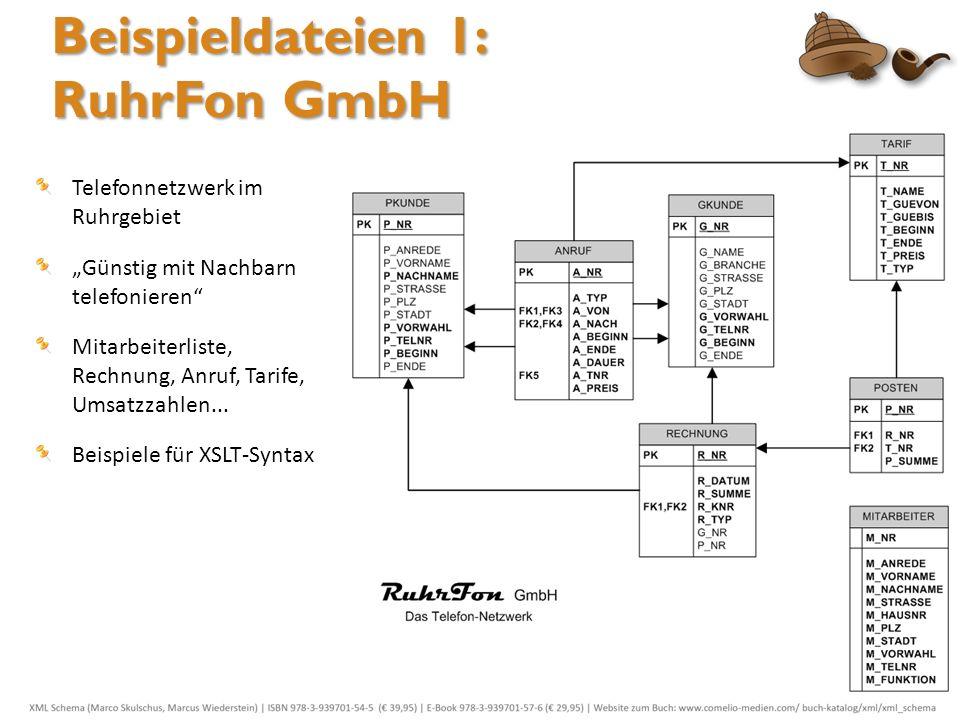 Beispieldateien 1: RuhrFon GmbH Telefonnetzwerk im Ruhrgebiet Günstig mit Nachbarn telefonieren Mitarbeiterliste, Rechnung, Anruf, Tarife, Umsatzzahle