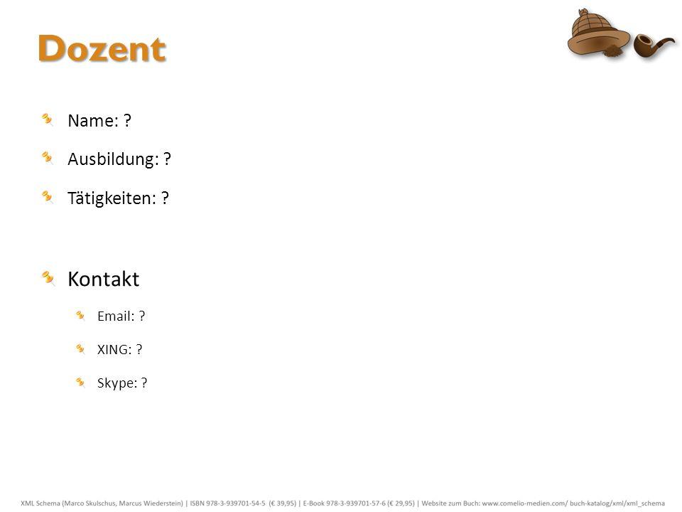 Zu den Teilnehmern Persönliches: Name, Firma / Branche Wie sieht der geplante XML-Einsatz aus.