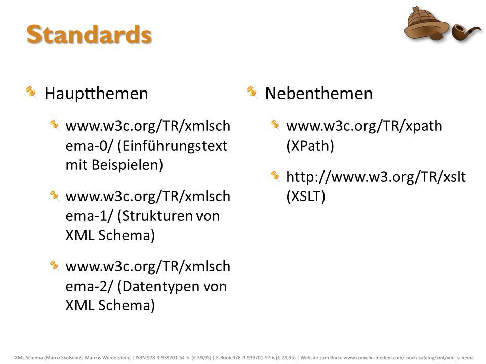 Standards Hauptthemen www.w3c.org/TR/xmlsch ema-0/ (Einführungstext mit Beispielen) www.w3c.org/TR/xmlsch ema-1/ (Strukturen von XML Schema) www.w3c.o
