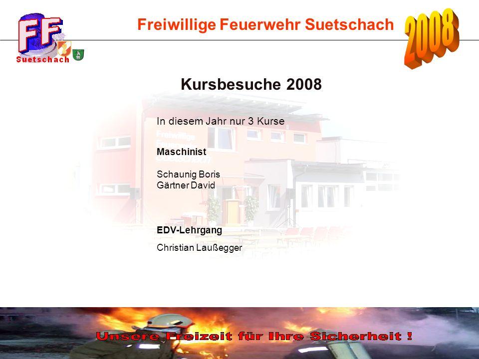 Freiwillige Feuerwehr Suetschach Kursbesuche 2008 In diesem Jahr nur 3 Kurse Maschinist Schaunig Boris Gärtner David EDV-Lehrgang Christian Laußegger