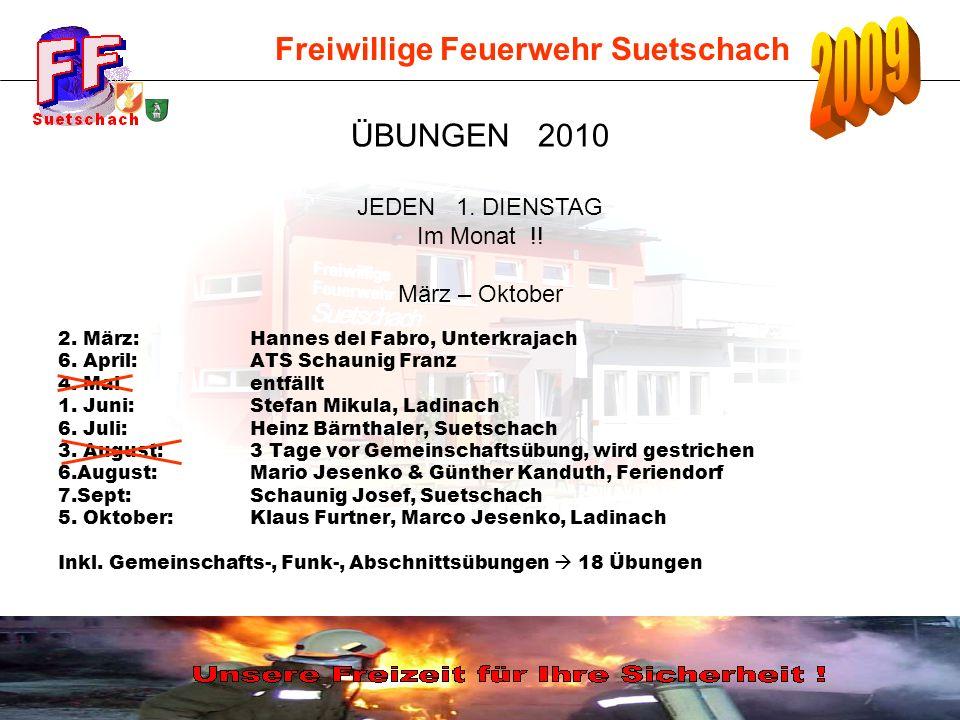 Freiwillige Feuerwehr Suetschach 2. März:Hannes del Fabro, Unterkrajach 6. April:ATS Schaunig Franz 4. Mai entfällt 1. Juni:Stefan Mikula, Ladinach 6.