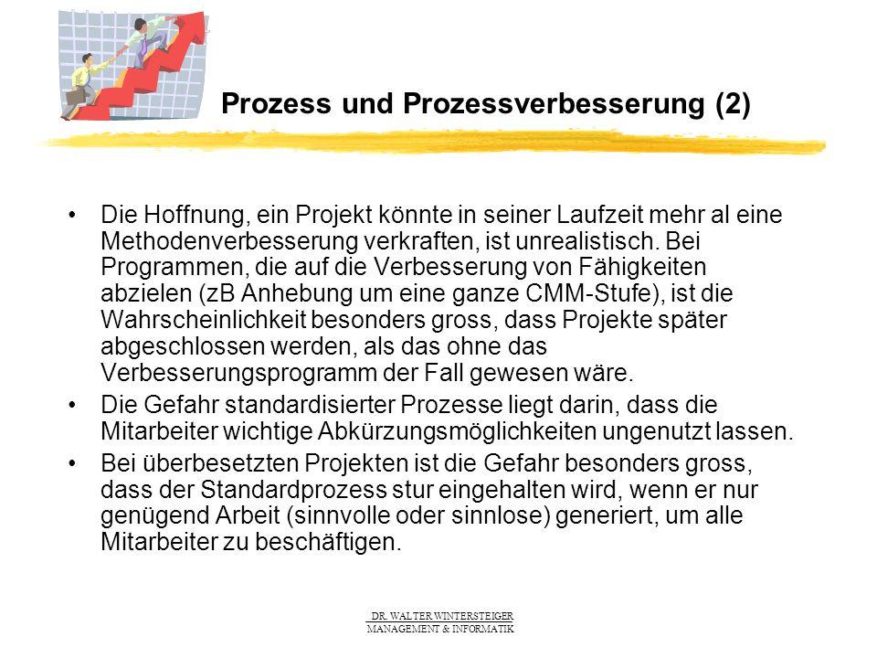 DR. WALTER WINTERSTEIGER MANAGEMENT & INFORMATIK Prozess und Prozessverbesserung (2) Die Hoffnung, ein Projekt könnte in seiner Laufzeit mehr al eine
