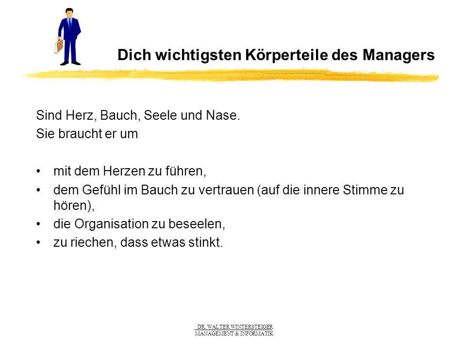 DR. WALTER WINTERSTEIGER MANAGEMENT & INFORMATIK Dich wichtigsten Körperteile des Managers Sind Herz, Bauch, Seele und Nase. Sie braucht er um mit dem