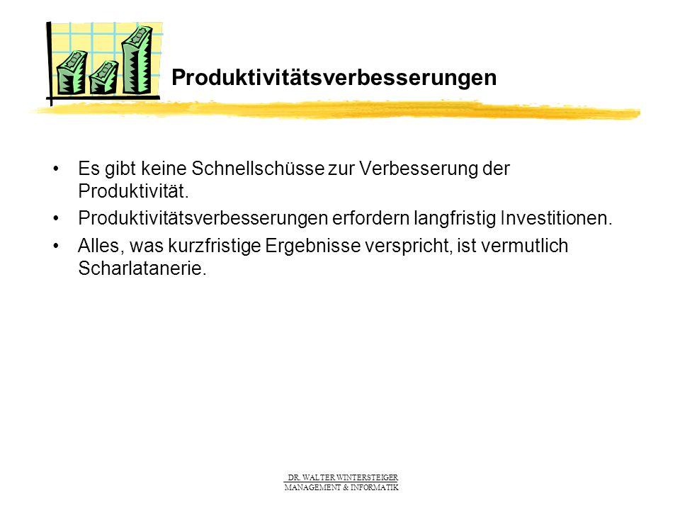 DR. WALTER WINTERSTEIGER MANAGEMENT & INFORMATIK Produktivitätsverbesserungen Es gibt keine Schnellschüsse zur Verbesserung der Produktivität. Produkt