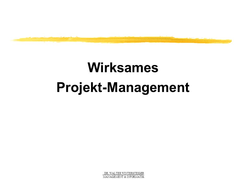 DR. WALTER WINTERSTEIGER MANAGEMENT & INFORMATIK Wirksames Projekt-Management