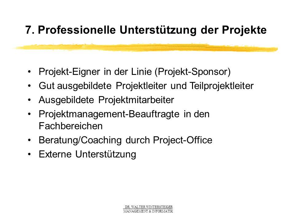 DR. WALTER WINTERSTEIGER MANAGEMENT & INFORMATIK 7. Professionelle Unterstützung der Projekte Projekt-Eigner in der Linie (Projekt-Sponsor) Gut ausgeb
