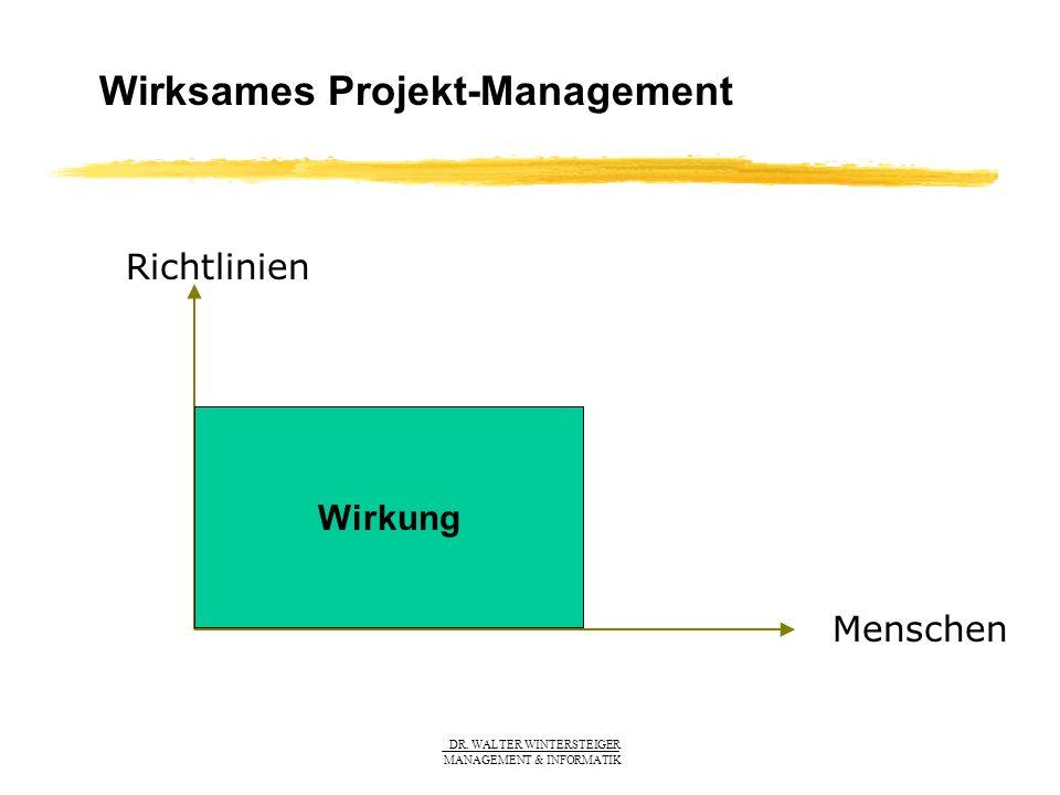 DR. WALTER WINTERSTEIGER MANAGEMENT & INFORMATIK Wirksames Projekt-Management Menschen Richtlinien Wirkung