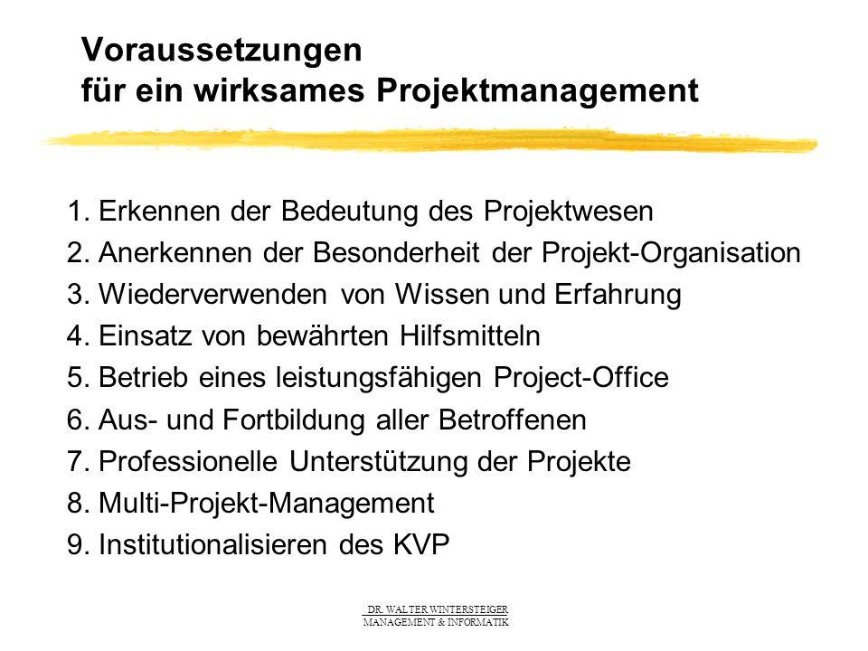 DR. WALTER WINTERSTEIGER MANAGEMENT & INFORMATIK Voraussetzungen für ein wirksames Projektmanagement 1. Erkennen der Bedeutung des Projektwesen 2. Ane