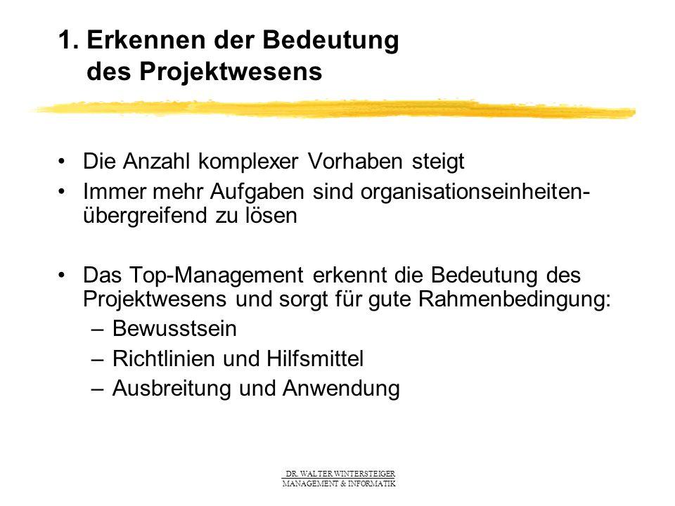 DR. WALTER WINTERSTEIGER MANAGEMENT & INFORMATIK 1. Erkennen der Bedeutung des Projektwesens Die Anzahl komplexer Vorhaben steigt Immer mehr Aufgaben