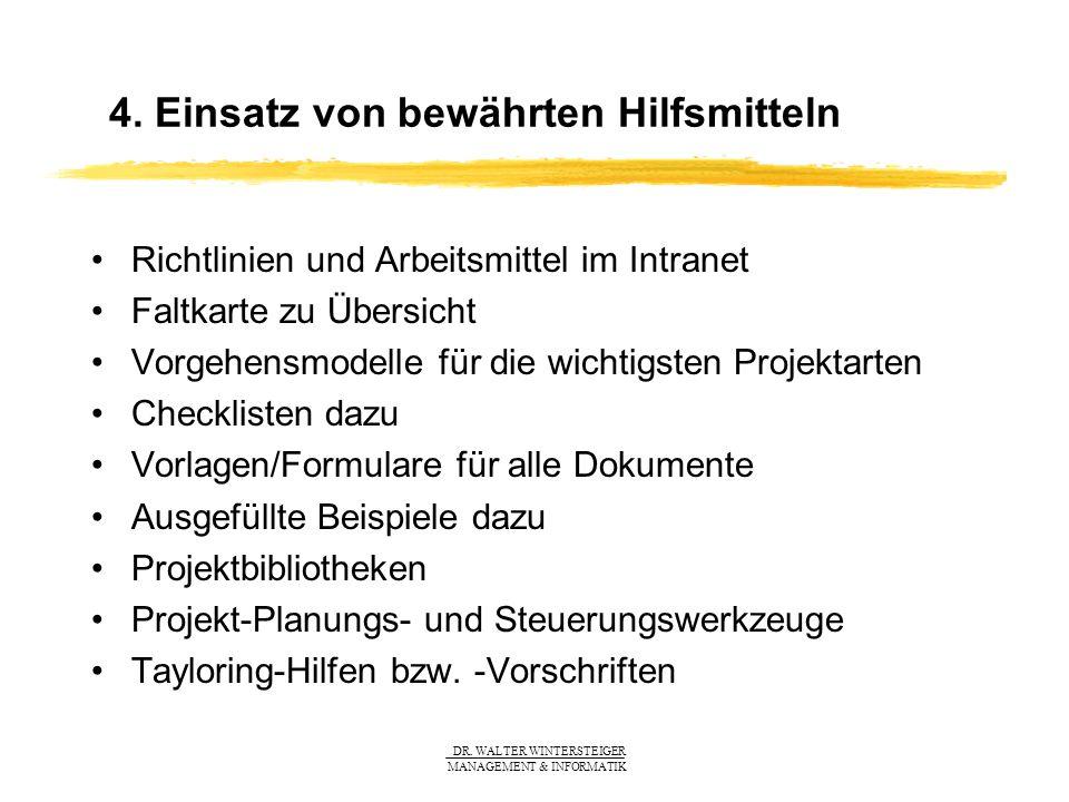DR. WALTER WINTERSTEIGER MANAGEMENT & INFORMATIK 4. Einsatz von bewährten Hilfsmitteln Richtlinien und Arbeitsmittel im Intranet Faltkarte zu Übersich