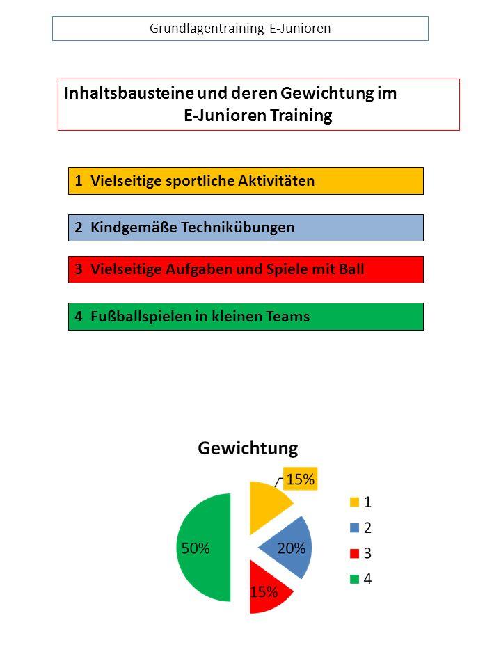 Grundlagentraining E-Junioren Inhaltsbausteine und deren Gewichtung im E-Junioren Training 1 Vielseitige sportliche Aktivitäten 2 Kindgemäße Techniküb