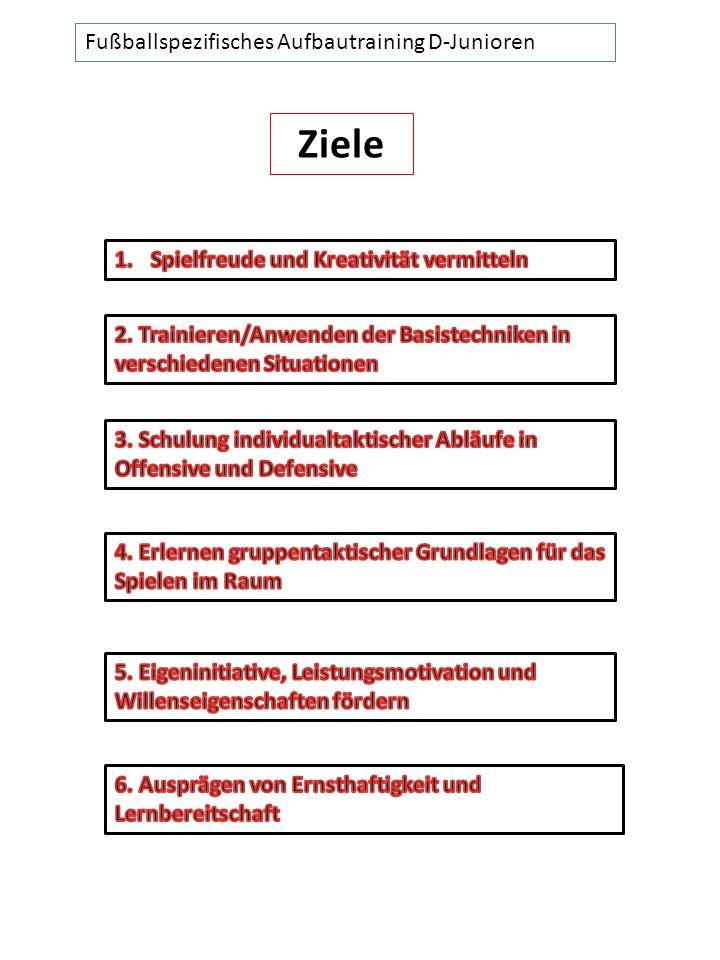 Fußballspezifisches Aufbautraining D-Junioren Ziele