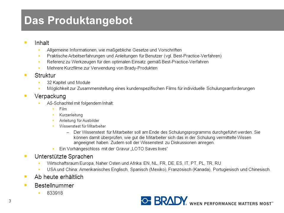 Das Produktangebot Inhalt Allgemeine Informationen, wie maßgebliche Gesetze und Vorschriften Praktische Arbeitserfahrungen und Anleitungen für Benutze