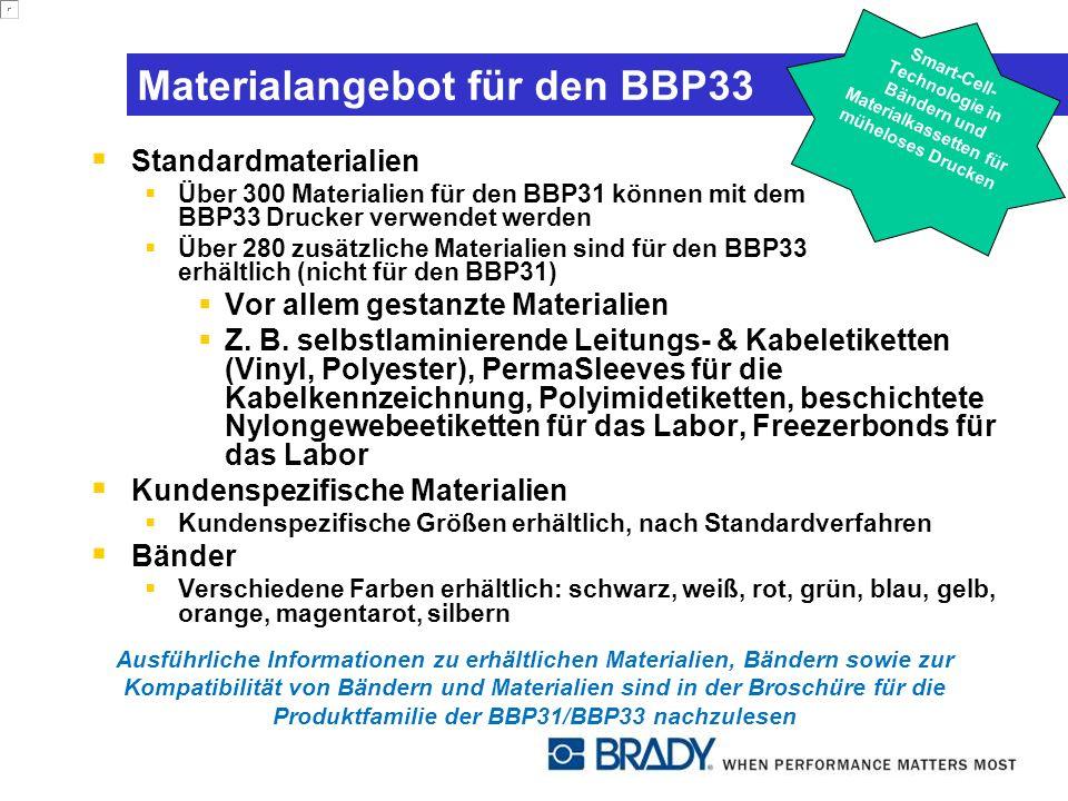 Materialangebot für den BBP33 Standardmaterialien Über 300 Materialien für den BBP31 können mit dem BBP33 Drucker verwendet werden Über 280 zusätzliche Materialien sind für den BBP33 erhältlich (nicht für den BBP31) Vor allem gestanzte Materialien Z.